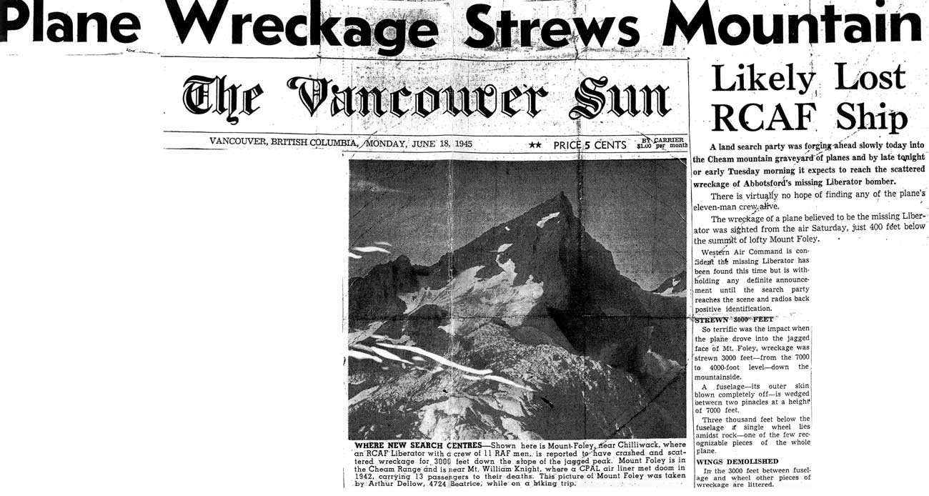 1945 newspaper report about KK241 crash